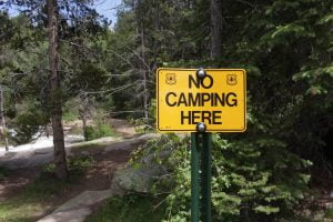 No Camping Here Sign