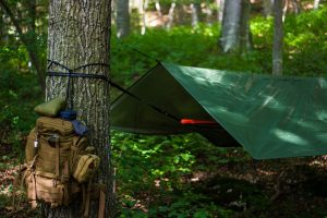 Camping tent attached to tree